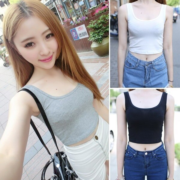 Womens Scoop Neck Blouse Crop Tops Sleeveless Short T-Shirt Tank GT W_C (Size: M, Color: Gray)