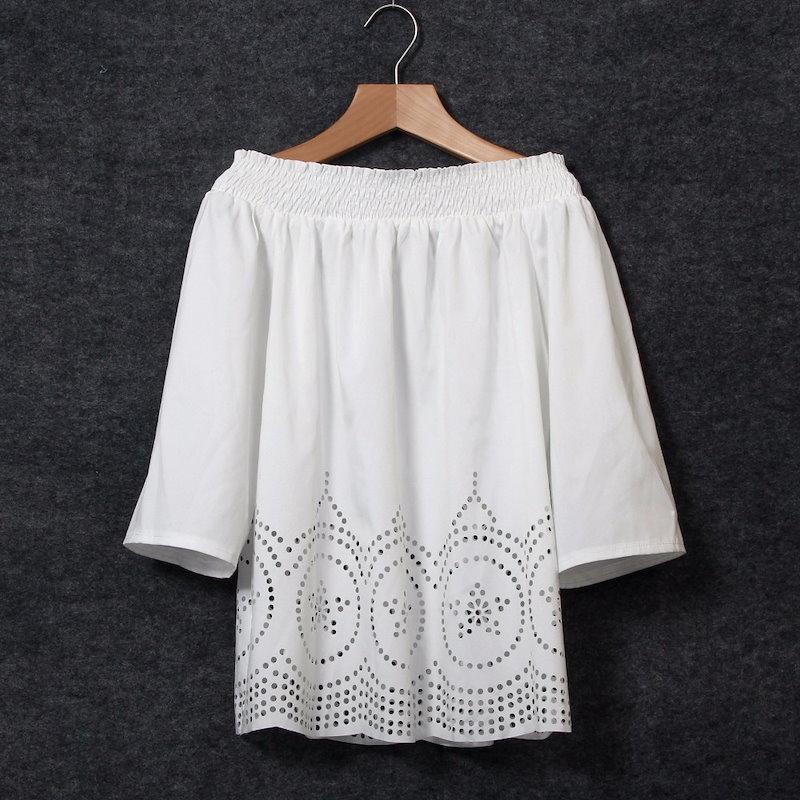 Bohoセクシーレディースショルダーストラップレスロングスリーブトップスブラウスビーチシャツ