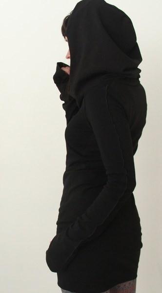 女性秋ロングスリーブピュアカラーフード付きパーカースリムフィットプルオーバーセーターミニスカートS-XL GUD