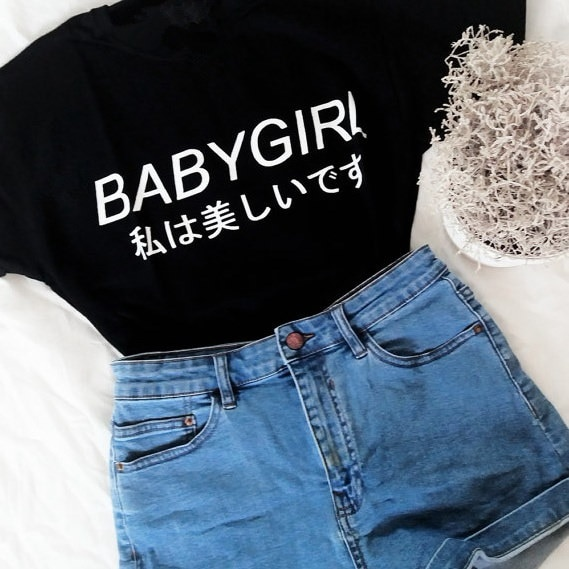BABYGIRL JAPANESEレタープリントレディースTシャツカジュアルコットンファニーシャツレディーストップTee原宿イン