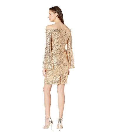 ベベ レディース ワンピース トップス Off Shoulder Sequin Dress w/ Bell Sleeves