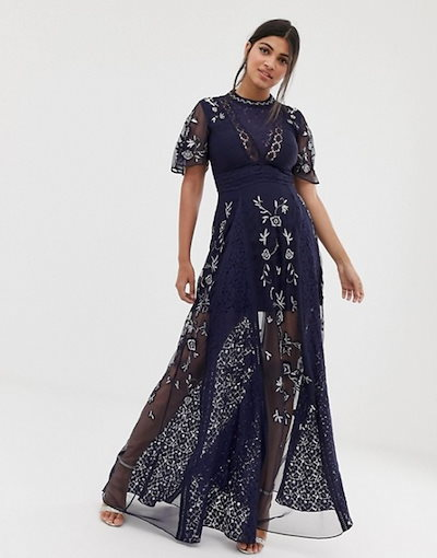 アメリアローズ レディース ワンピース トップス Amelia Rose embroidered lace front maxi dress with panel inserts in navy