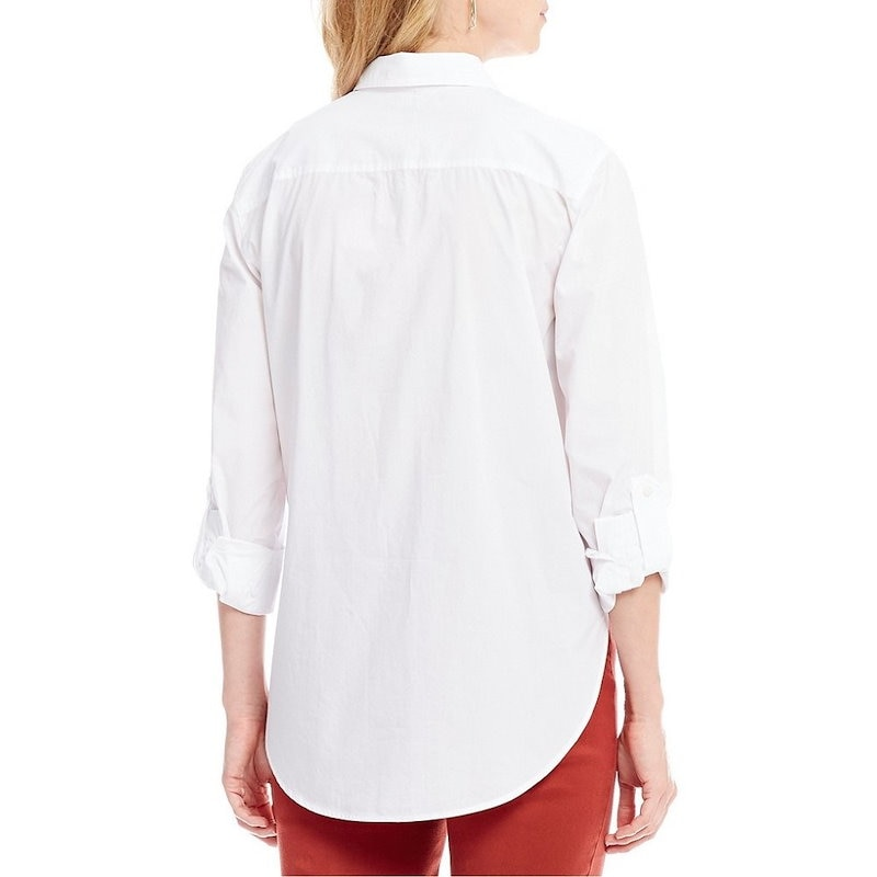 NYDJ レディース トップス ブラウス・シャツ【NYDJ Roll-Tab Sleeve Solid Button Front Shirt】Optic White
