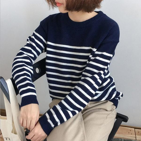レディースニットセーター ニット ボーダー柄 秋冬 2カラー ネイビー ホワイト