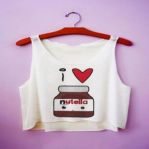 2016 Summer Fashion Cartoon Nutella Printed Round Neck Vest Sleeveless Crop Tops Waistcoat