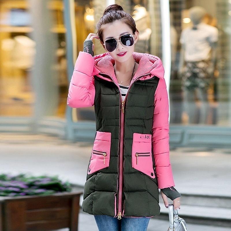 女性の綿が詰めジャケットの新しい冬ミディアム・ロングコットンパーカープラスサイズのコート女性スリムレディースジャケットとコート