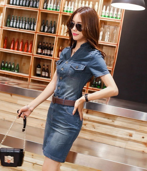 Fashion Retro Elegant V Neck Knee Length Demin Vestidos Short Sleeve  Lapel Casual Women Demin Fabri