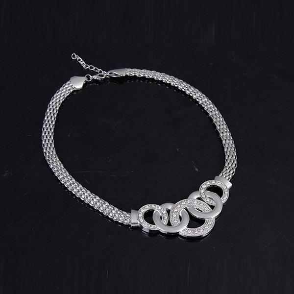 パーティーセットスライバーメッキ女性のファッションジュエリーセット新しいデザインのネックレスブレスレットイヤリングリングの味