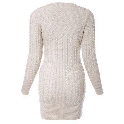 Stylish Long Sleeves Solid Color Sweater Dress For Women