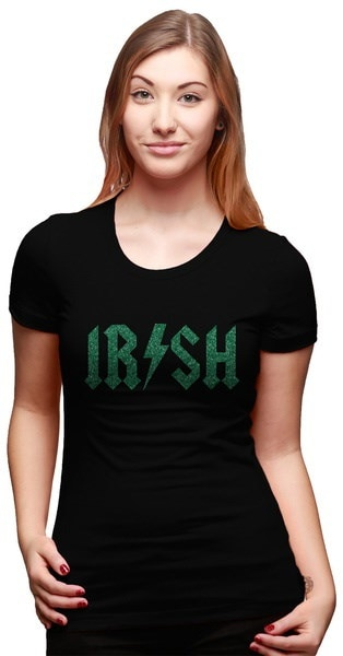 レディースアイルランドのロックスターグライターTシャツ女性のためのかわいい聖パトリックスデーティー
