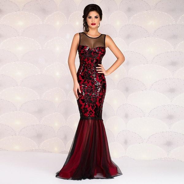 2017新しいセクシーなメッシュのスパンコールパッケージヒップドレスマキシイブニングドレスのマーメイドワンピースを通して見る