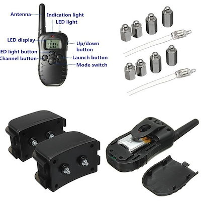 Waterproof Rechargeable 300m Remote 100 Level Electric Shock & Vibra 2 Dog Training Collar (Size: US
