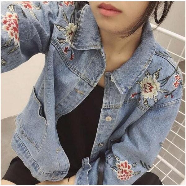刺繍 デニムジャケット レディース アウター Gジャン 花柄 カジュアル オシャレ 綺麗目 ビンテージ ゆったり