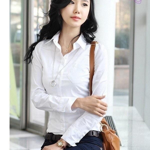 ポロシャツファッションフォーマル白薄型ストレート長袖レディースシャツ(XS-5XL、黒、白)
