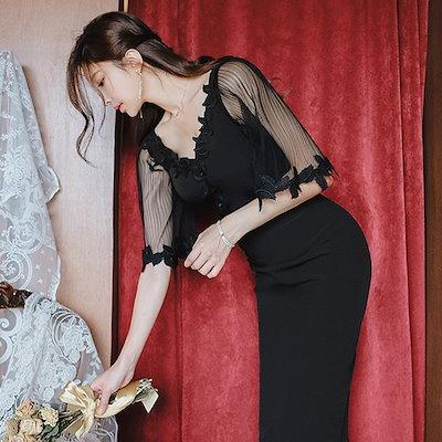 【送料無料】 ワンピース ワンピ ドレス シースルー 肌見え 無地 七分袖  Vネック 膝丈 ミドル丈 ミディアム丈 オシャレ ブラックドレス スリット ファスナー お呼ばれ 韓国ファッション きれい