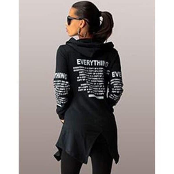 ファッションスポーツレタープリントジッパーパーカースリム不規則な裾のフード付きコート
