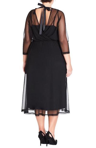 シティーシック レディース ワンピース トップス City Chic Mesh Overlay Dress (Plus Size)