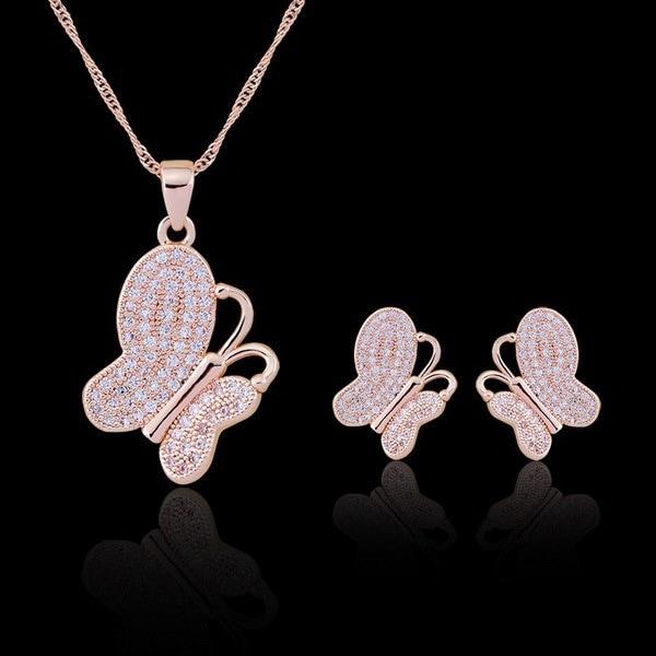 女性のファッションゴールドShanZuan蝶のペンダントネックレスイヤリングセット(1セット)(カラー:ゴールド)