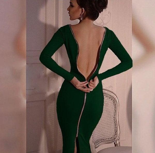 セクシーなナイトクラブボディコンドレスフルスリーブバックジップクロージャースリムフィットの秋のドレス