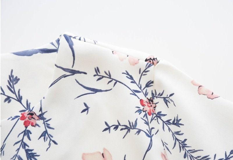 『韓国製』SELLISHOP  Elegant 花柄 ワンピース「大きいサイズ 大人 韓国 ファッション・結婚式・フォマール 黒 フレア 30代 40代 50代 スレンダー・Aライン,シャツ・上品・ロ