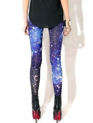 卸売2015新しい女性セクシーな宇宙ギャラクシーブループリントレギンスパンツ弾性ファッションスペースT