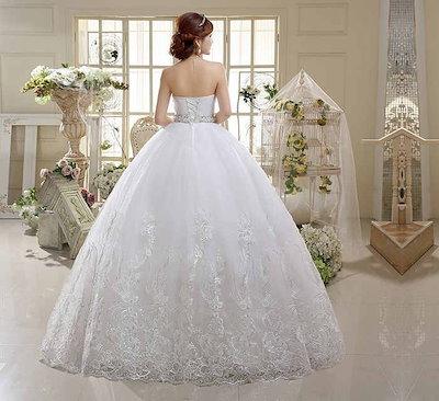 復古風 ウェディングドレス 韓国風 花嫁礼服 水晶 スイート 刺繍 ベアトップ XCMS66