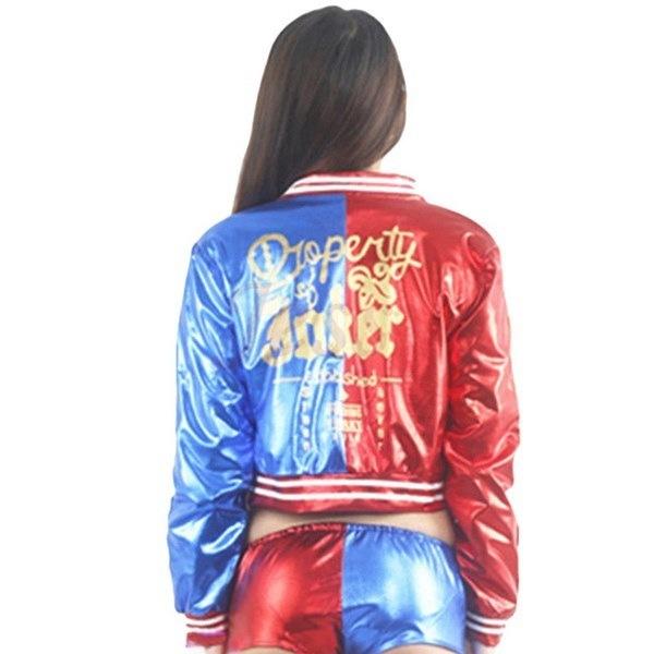 セクシーな女性のジャケットの自殺分隊ハーレークインのコスプレ衣装女性のいたずらハロウィンアニメロングスリーブ