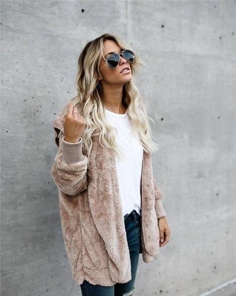 ホットセールファッション女性ウォームソリッドポケットデザインパーカーフーフィーコート