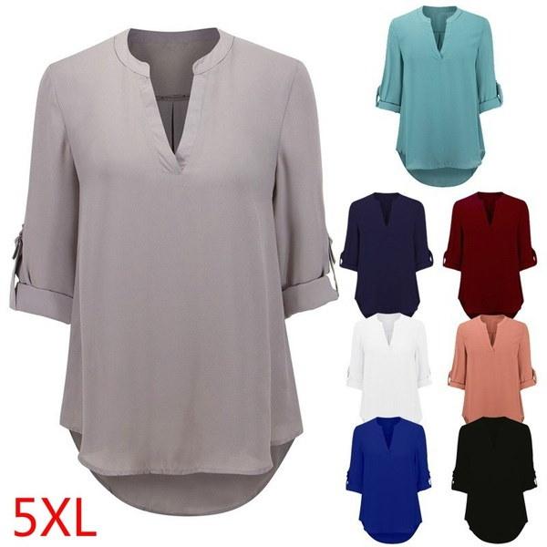 ファッションレディース夏ロングスリーブシャツカジュアルブラウスルーズコットントップスTシャツ