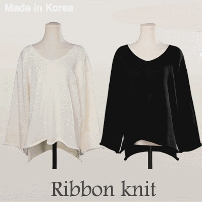 [something]V-neck Ribbon Knit ★ Direct From Korea/High Quality/Ribbon Knit/Loose Fit Knit/Office Wea