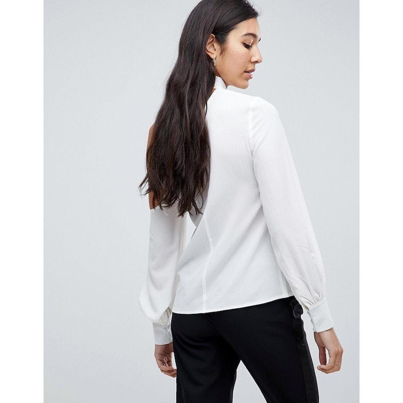 ファッションユニオン レディース トップス ブラウス・シャツ【Fashion Union Tall Cold Shoulder Blouse With Tie Neck Detail】White