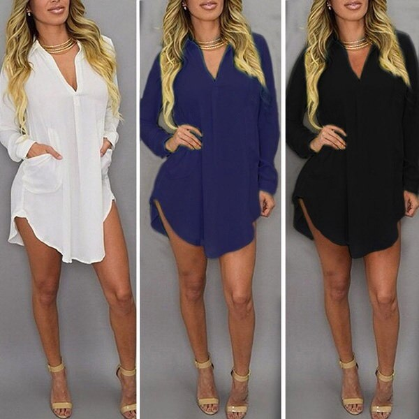 Boho Celeb WomenセクシーファッションロングスリーブブラウスVネックポケットトップスシャツドレスホワイトイエロー