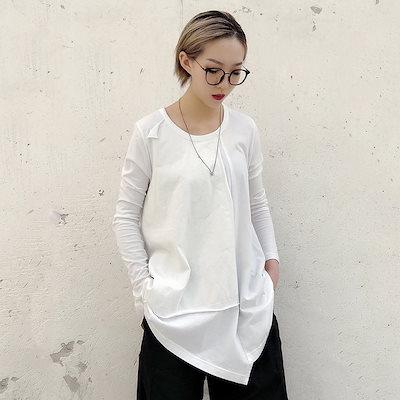 安い,大得価 [EAM] 2019 春夏新作ラウンドネックルース不規則なスプリットジョイント裾人格 Tシャツ女性ファッション JO470