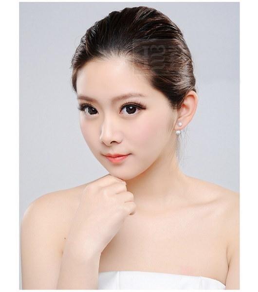 ファッション925スターリングシルバー女性クリスタルダイヤモンドスタッドピアス4ボールスタイルNo5(サイズ:10 mm)