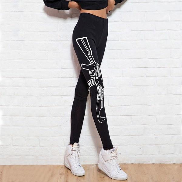 2017レディースジョギングヨガフィットネスレギンスレタープリントロングパンツ