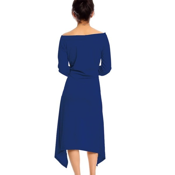 ファッション女性長袖不規則綿コットンスリムフィットチュニックドレストップスシャツロングブラウス