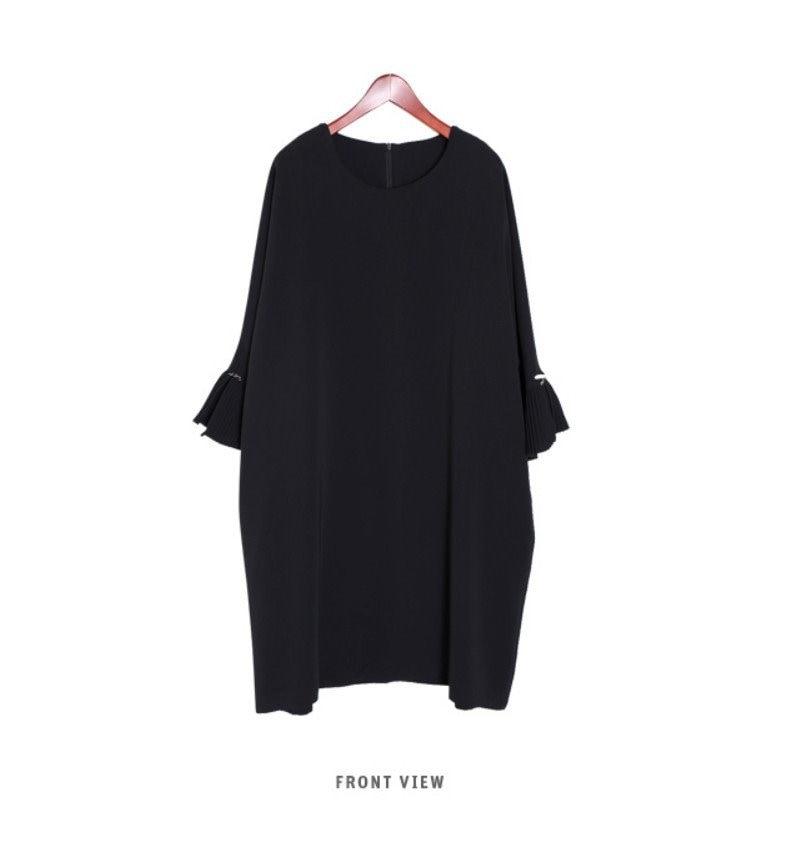 『韓国製』SELLISHOP  Anna リボン ワンピース -「大きいサイズ 大人 韓国 ファッション・結婚式・フォマール 黒 フレア 30代 40代 50代 スレンダー・Aライン,シャツ・上品・ロ