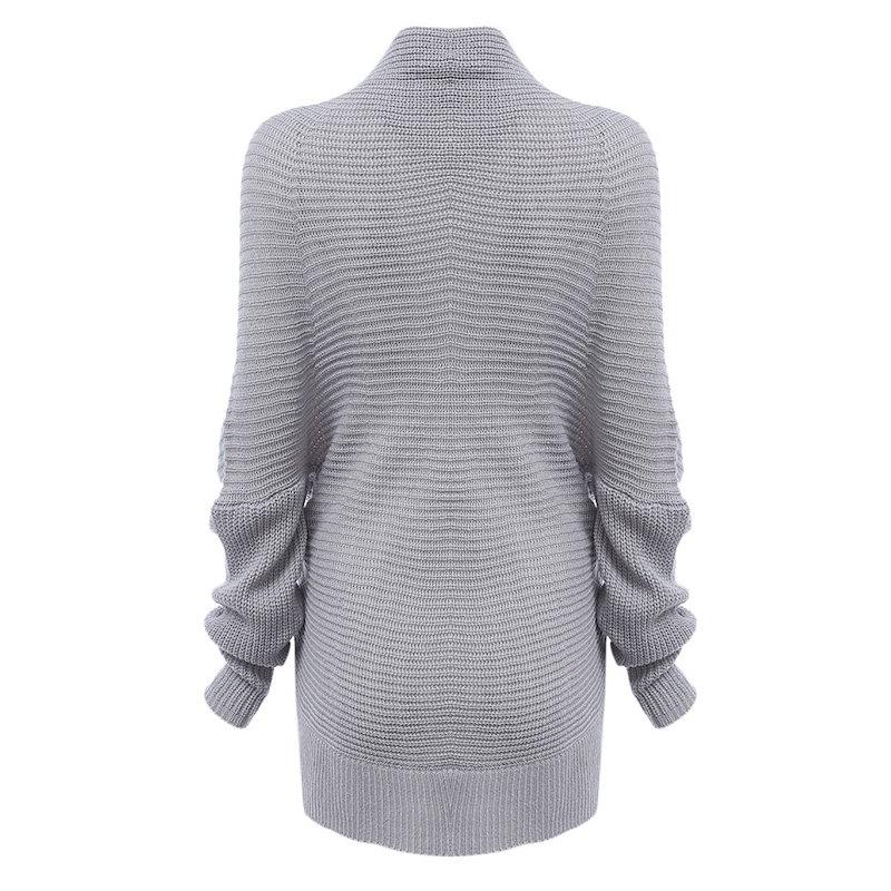 ファッションVネックストラップレスロングスリーブピュアカラーバストクロスデザインニット女性トップセーター