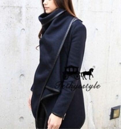 ファッション長袖襟オープンステッチウール無地女性用ウィンターコートを下げます