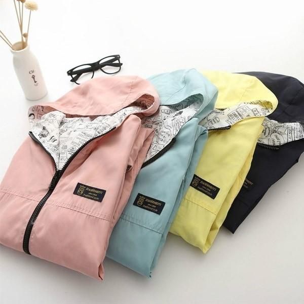Women s Fashion Two Side Print Wear Hooded Loose Pocket Jacket Coat Outwear