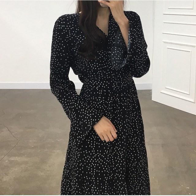 ドットパターンラップスタイルロングワンピース30554デイリールックkorea women fashion style