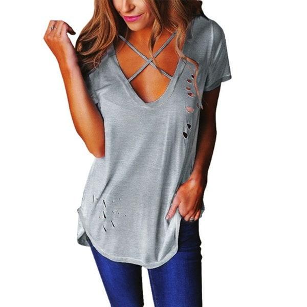 ファッション女性ソリッドカラーショートスリーブトップ中空Vネック包帯不規則な裾ルーズTシャツ