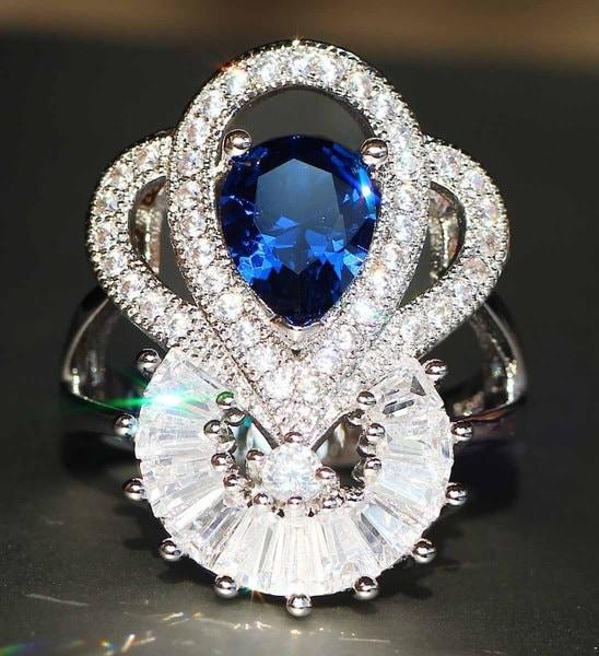 豪華な925シルバー天然宝石約束リングサファイア結婚式の誕生石の花嫁の婚約記念