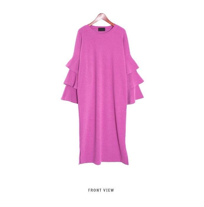 『韓国製』SELLISHOP ラッフル ワンピース「大きいサイズ 大人 韓国 ファッション・結婚式・フォマール 黒 フレア 30代 40代 50代 スレンダー・Aライン,シャツ・上品・ロング ミセス