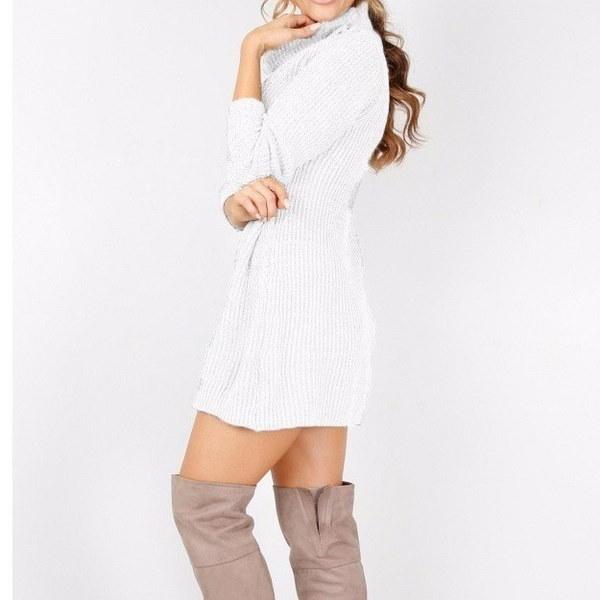 秋と冬の女性セクシーなハイネック長袖セータードレス