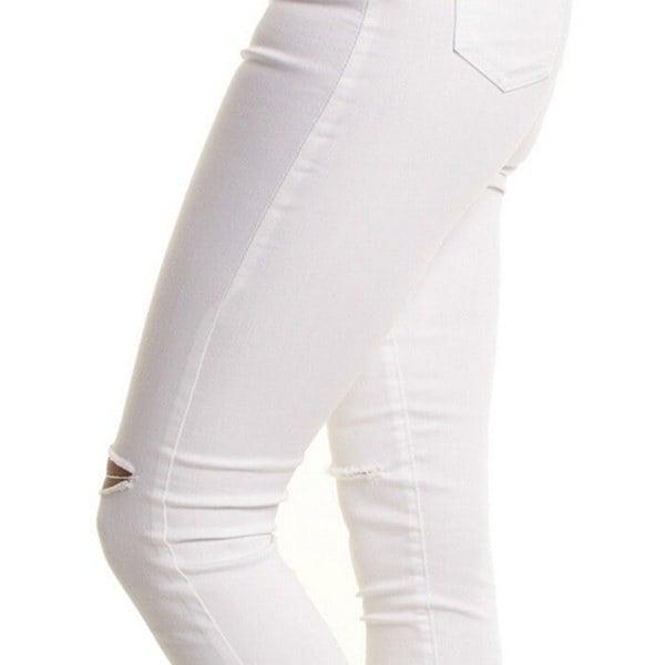 伸縮性のある女性のハイウエストトーンリップホールニースキニーペンシルレギンスパンツ