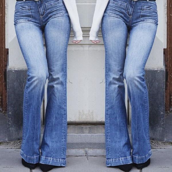 2017秋冬の女性のファッションスーパーフラッタリングフレアジーンズセクシーなカジュアルジーンズ