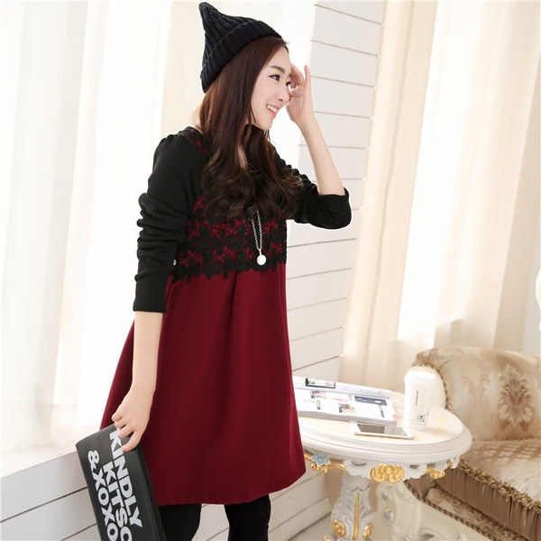 9508#レースカラーブロック秋マタニティドレス(サイドタイ付き)妊娠中のWのエレガントな冬服