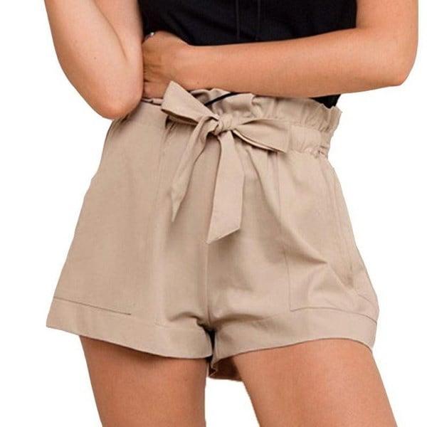 NEWDF女性セクシーなクレープ織りタイツパンツ夏のカジュアルショーツハイウエストショート