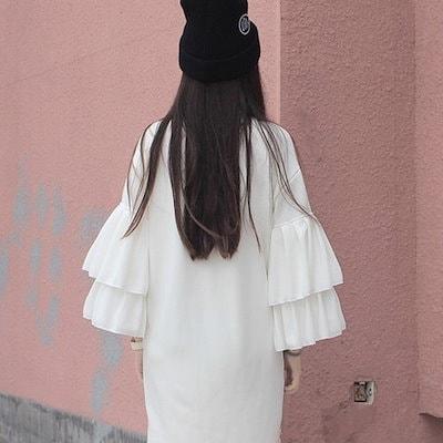 王道モテワンピース ホワイト 袖コンシャス 上品 可愛い ガーリー フェミニン 2019年 春 w89